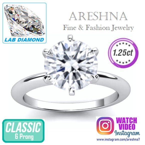 Areshna Jewelry - 1.25ct Lab Diamond Round Cut Engagement Ring